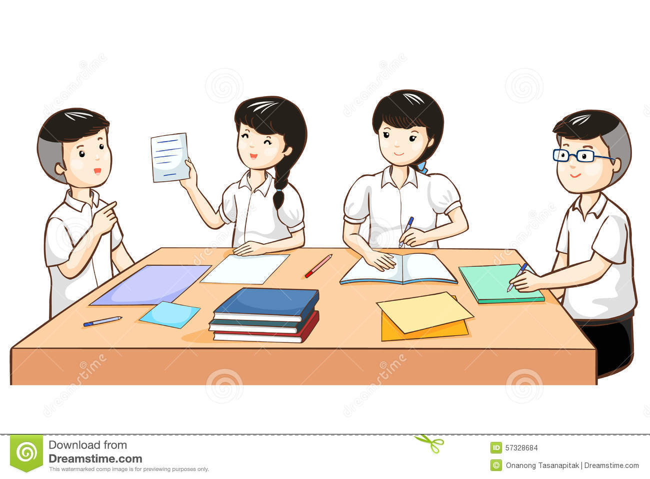 student work together in group stock vector - illustration of boyish