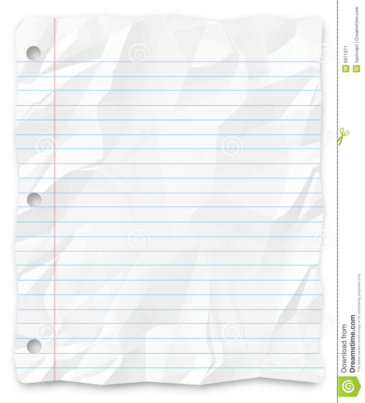 Student Writing Paper Lined Three-Hole Punched Stock Image - Image ...