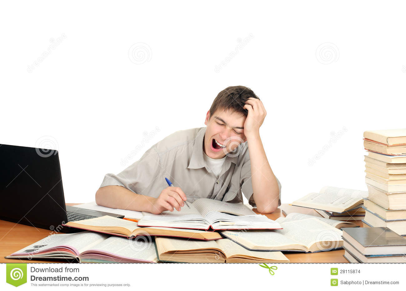 Student Yawning stock photo. Image of overworked, sleepy ...