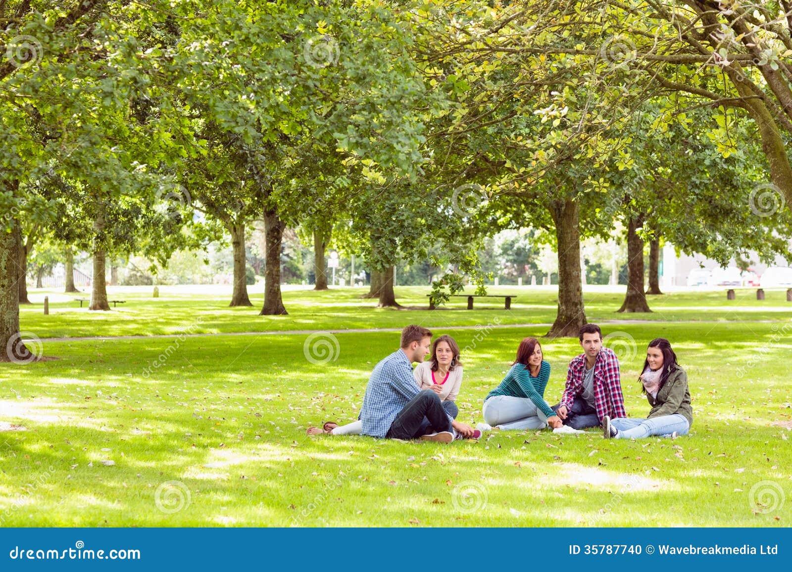 Studenten, die auf Gras im Park sitzen