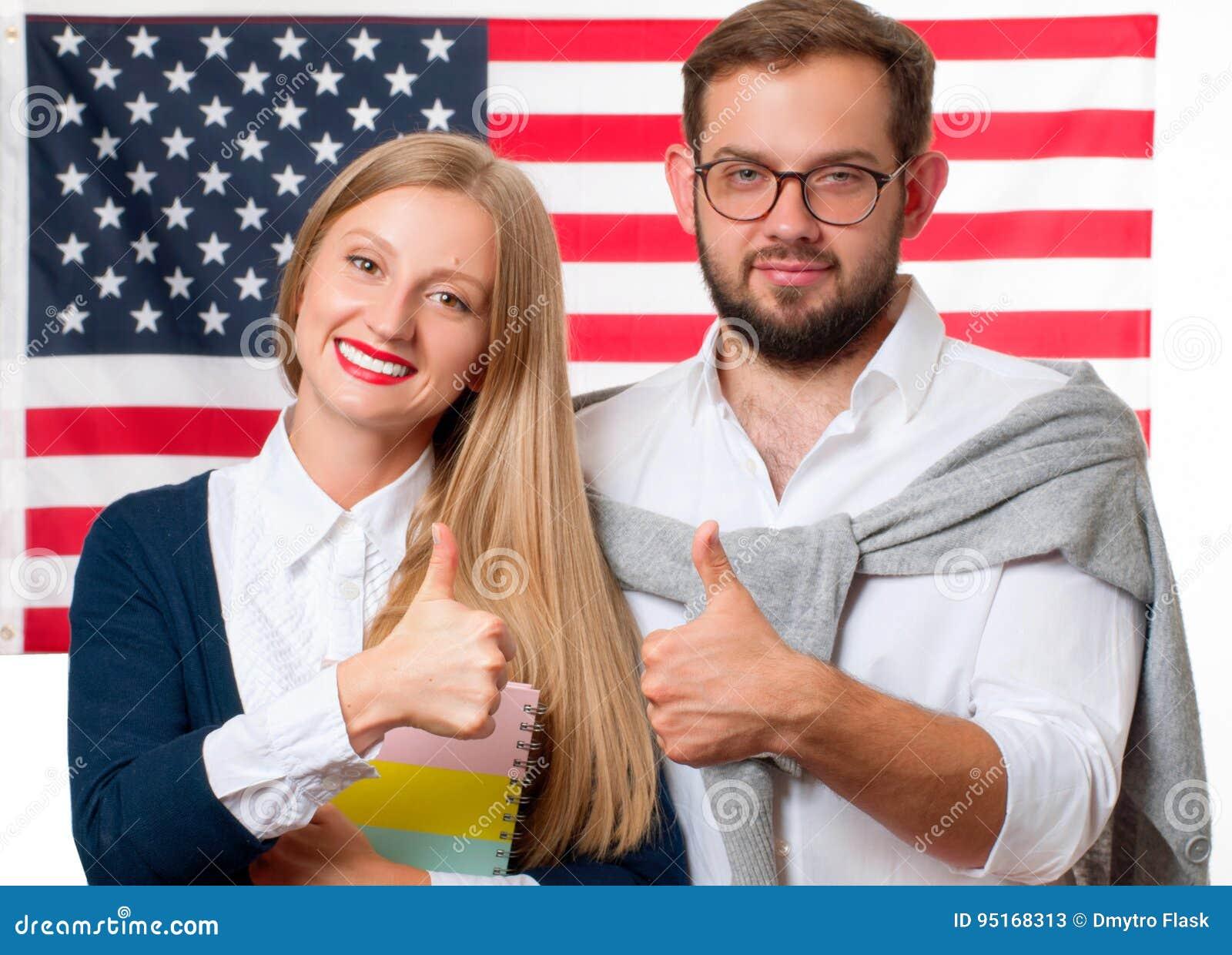 Studenten lernt Englisch als Fremdsprache Amerikanische Flagge