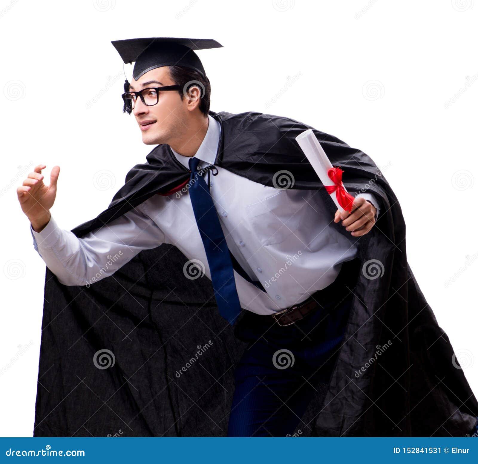 Studentenabsolvent lokalisiert auf wei?em Hintergrund