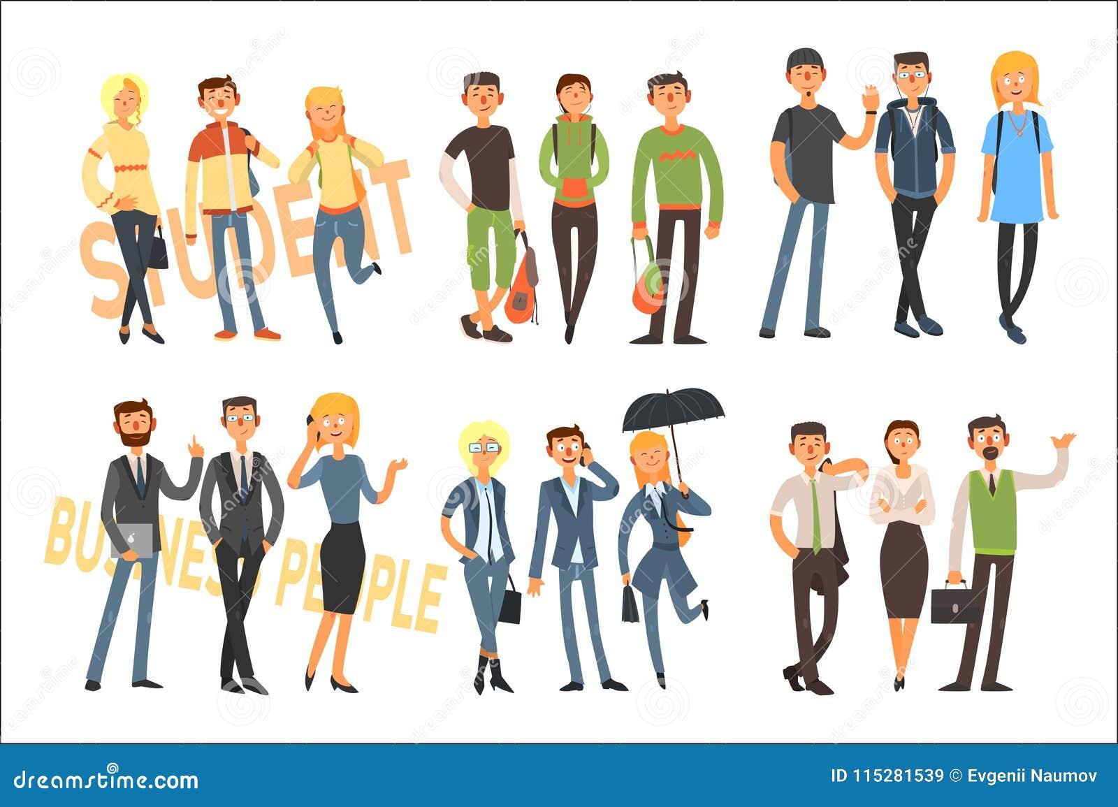 Studenti allegri e gente di affari Ragazze e tipi in attrezzatura casuale Impiegati di concetto in vestiti convenzionali piano