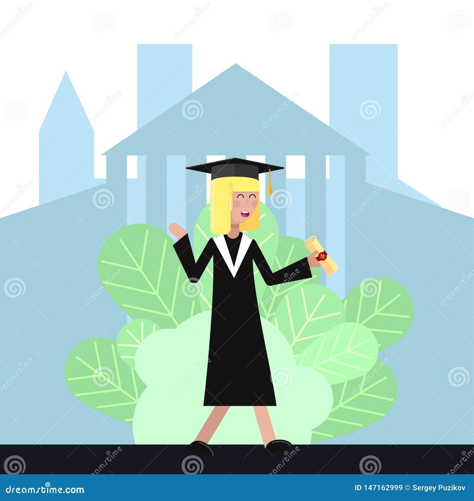 Studentin im akademischen Kleid und in der Kappe empfing ein Diplom und freut sich flache Illustration des Vektors