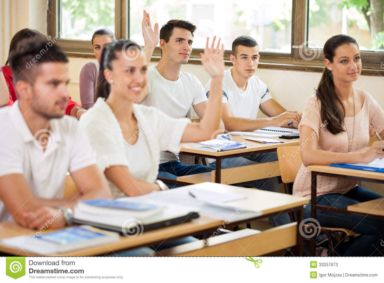 Students In Class Asking Questions Stock Photos - Image ...