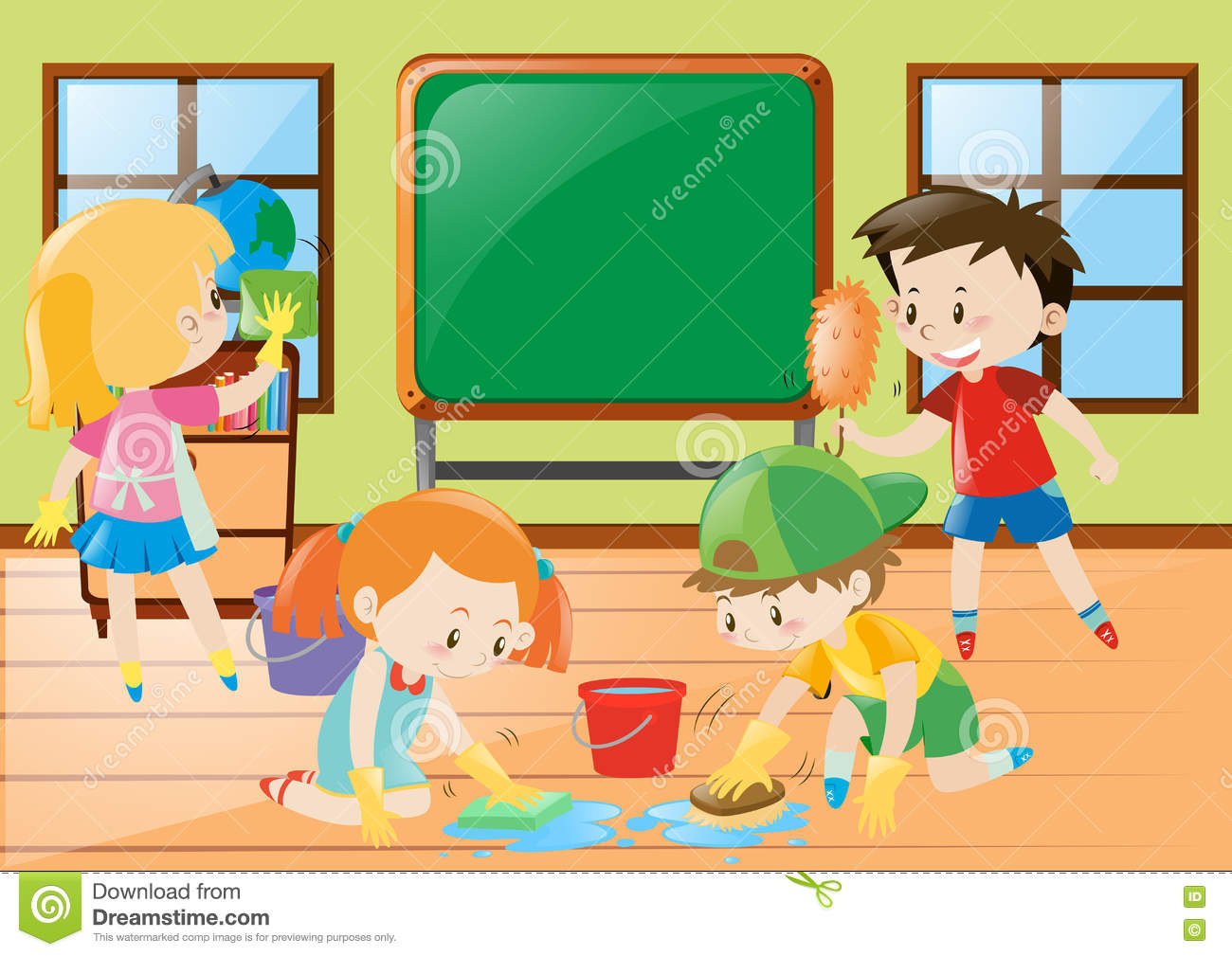 Students Cleaning Classroom Together Stock Vector ...