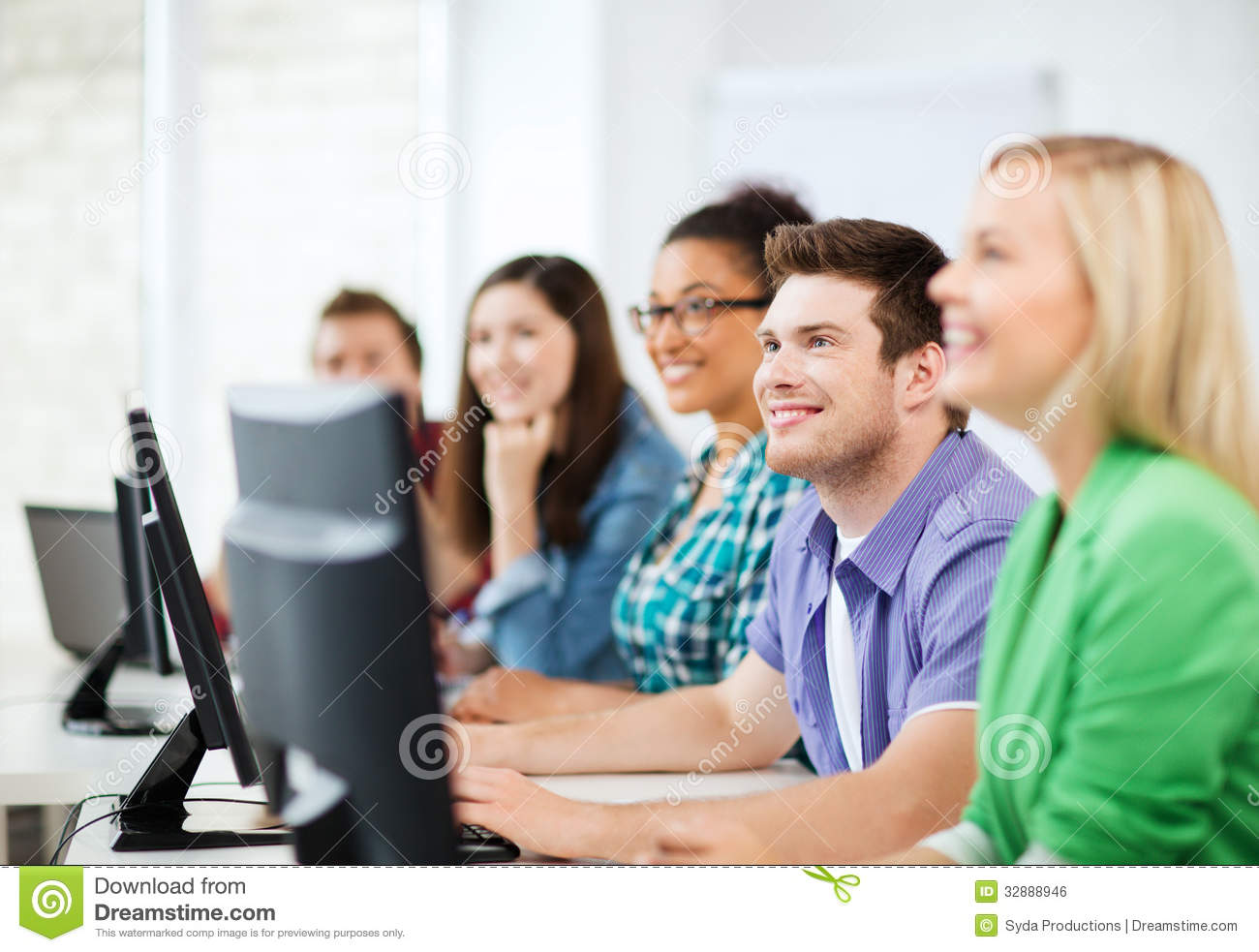 students with computers studying at school stock photo image of