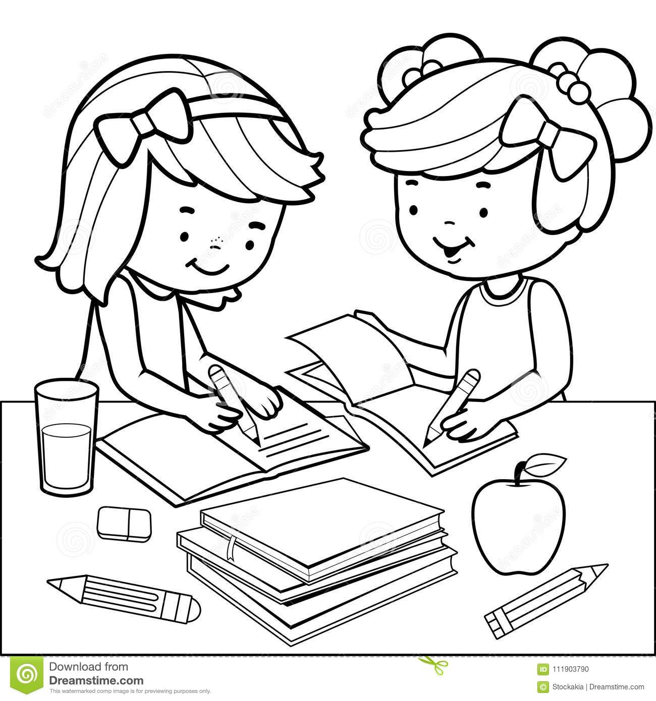 Students Doing Homework. Black And White Coloring Book Page. Stock ...