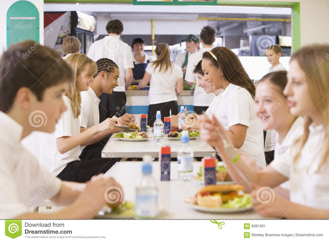High school students eating in the school cafeteria. Happy High School Student Clipart