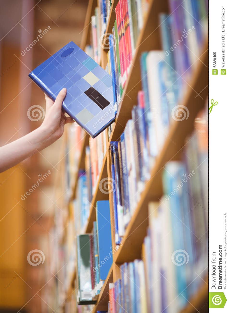 Download Students Hand With Smartwatch Picking Book From Bookshelf Stock Image