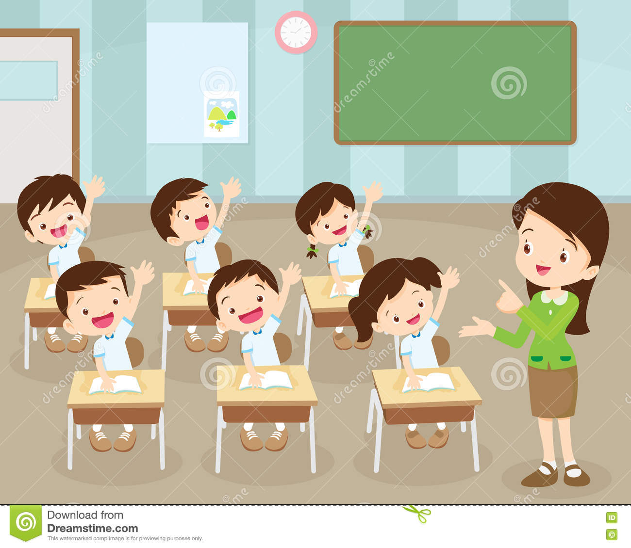 Study Teaching: Students Hand Up In Classroom Stock Vector