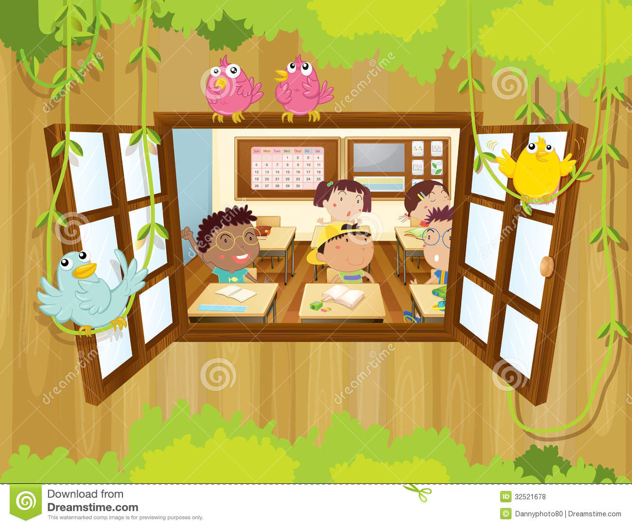 Students Inside The Classroom With Birds At The Window Stock Vector ... for Inside Window Clipart  183qdu