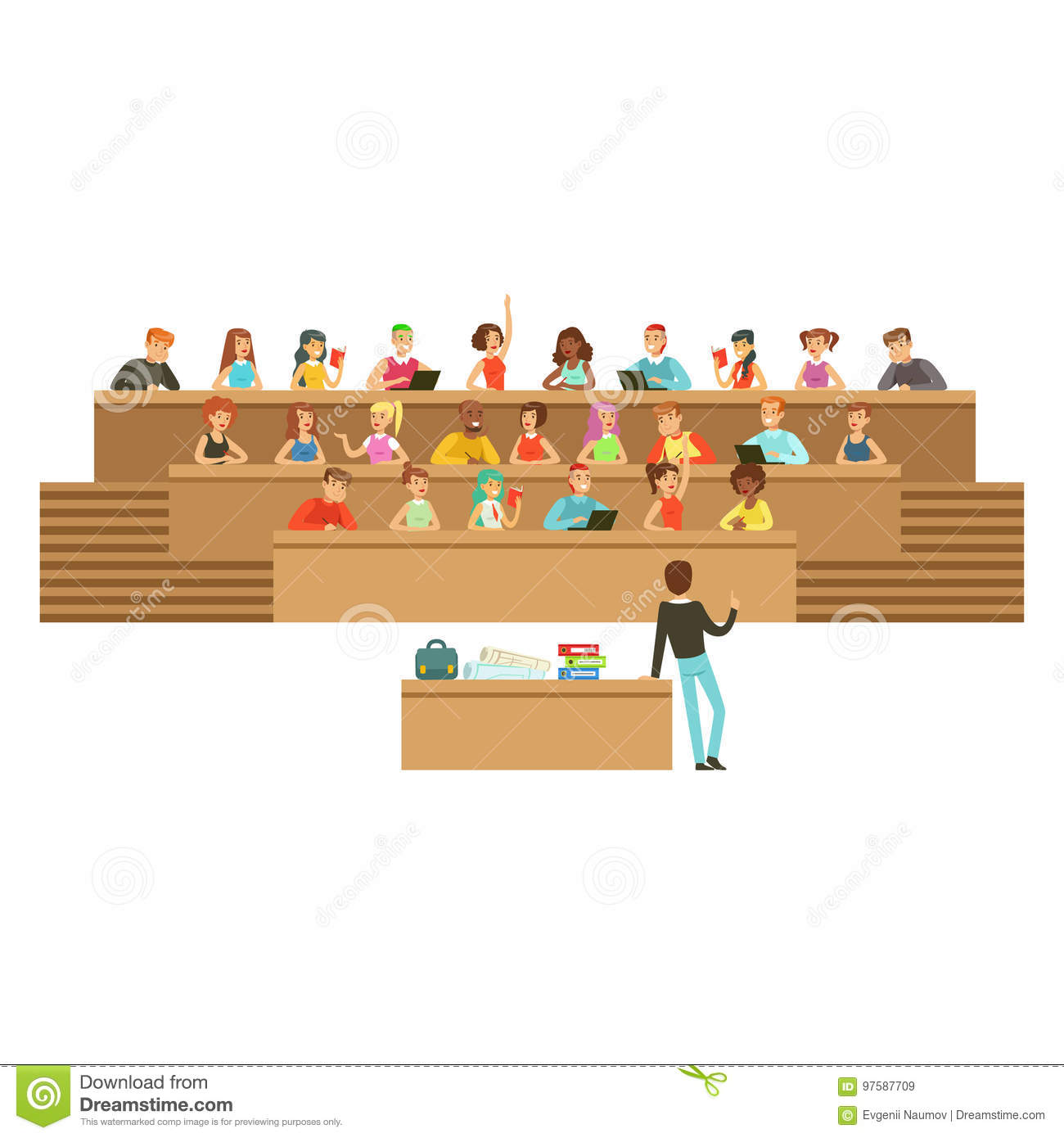 Students Listening In A Lecture Hall In University Or College
