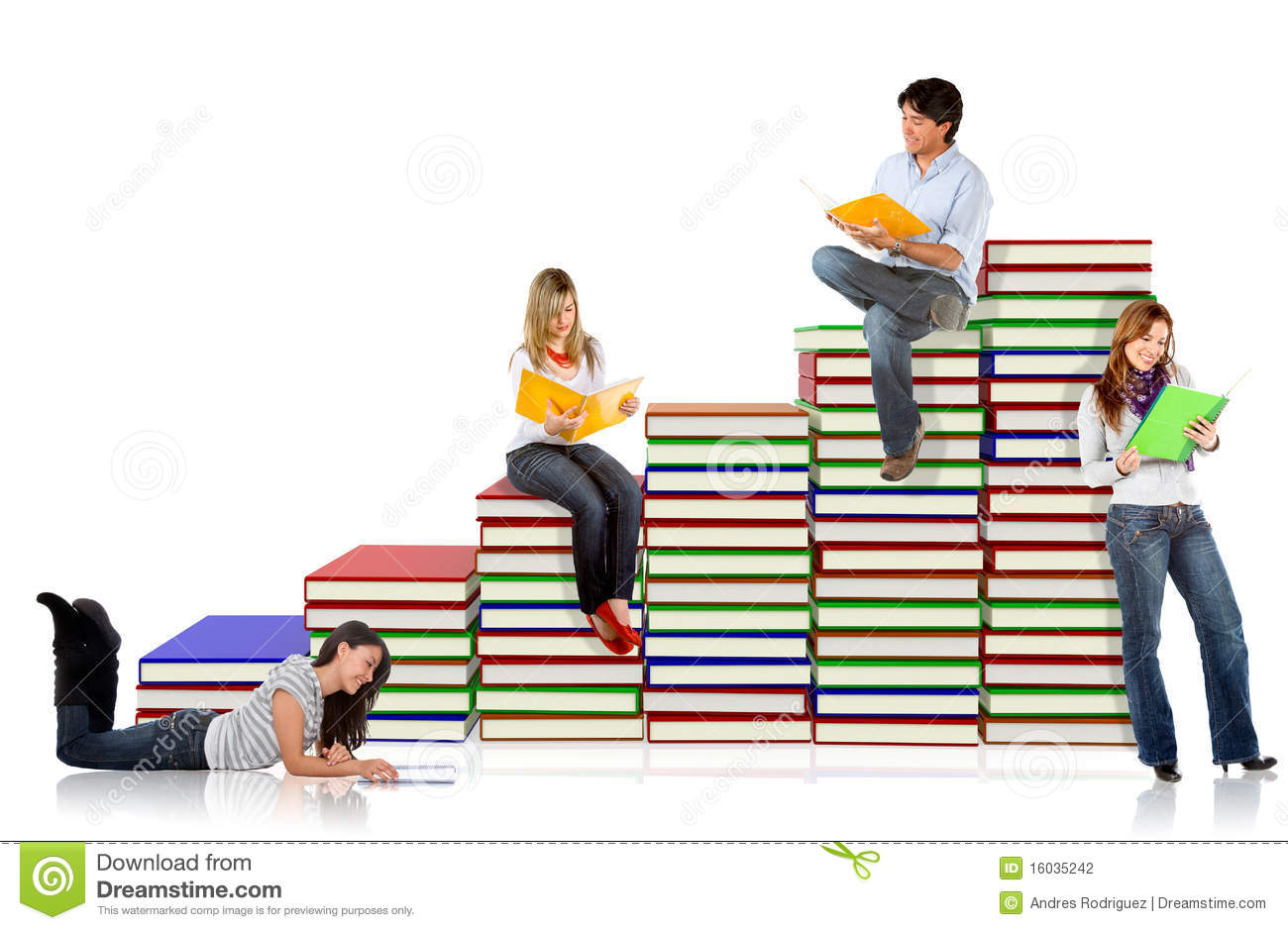 Students around a pile of books - isolated over a white background.
