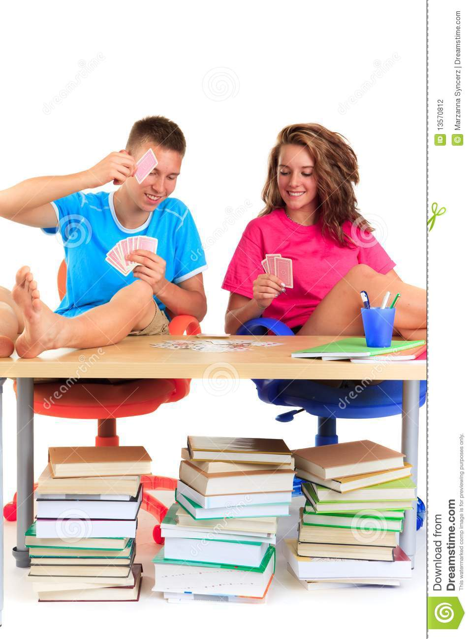 Students Playing Cards Stock Photography Image 13570812