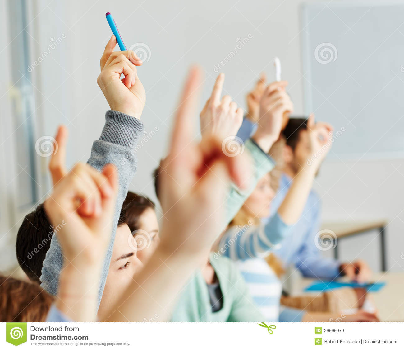 Students Raising Hands In Class Stock Photo - Image: 29595970