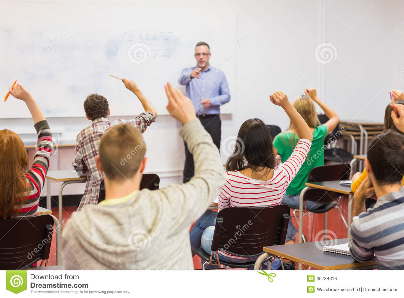 Students Raising Hands In The Classroom Royalty Free Stock ... Happy High School Student Clipart