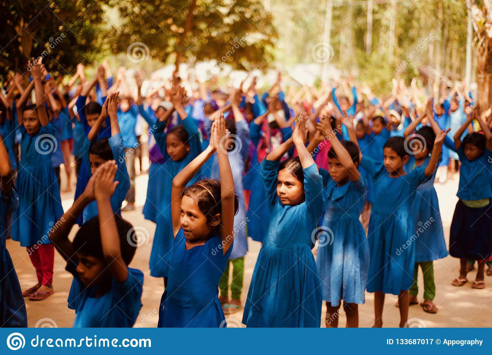 Students raising their hands in an school assembly