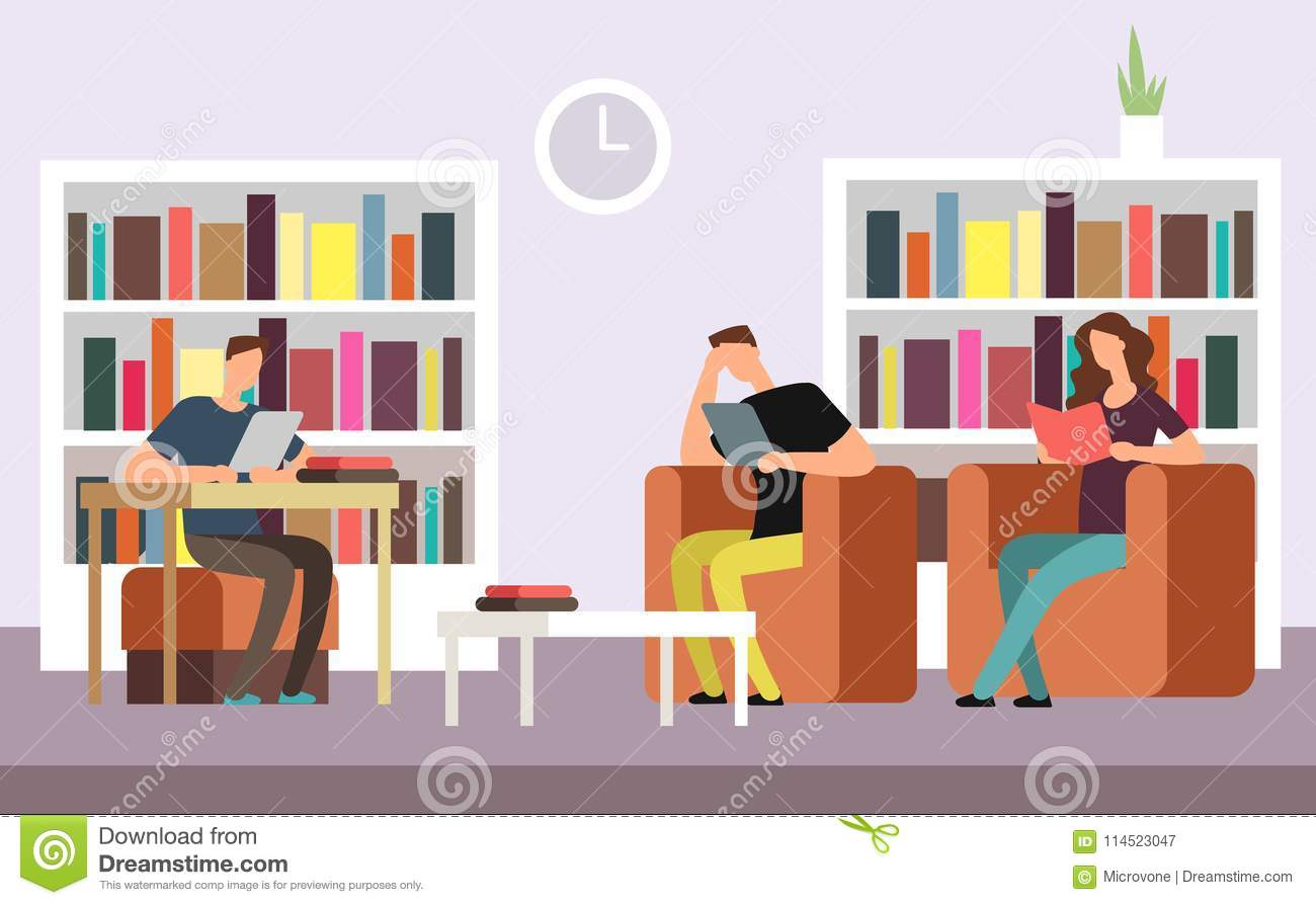 Students Reading And Searching Books In Public Library
