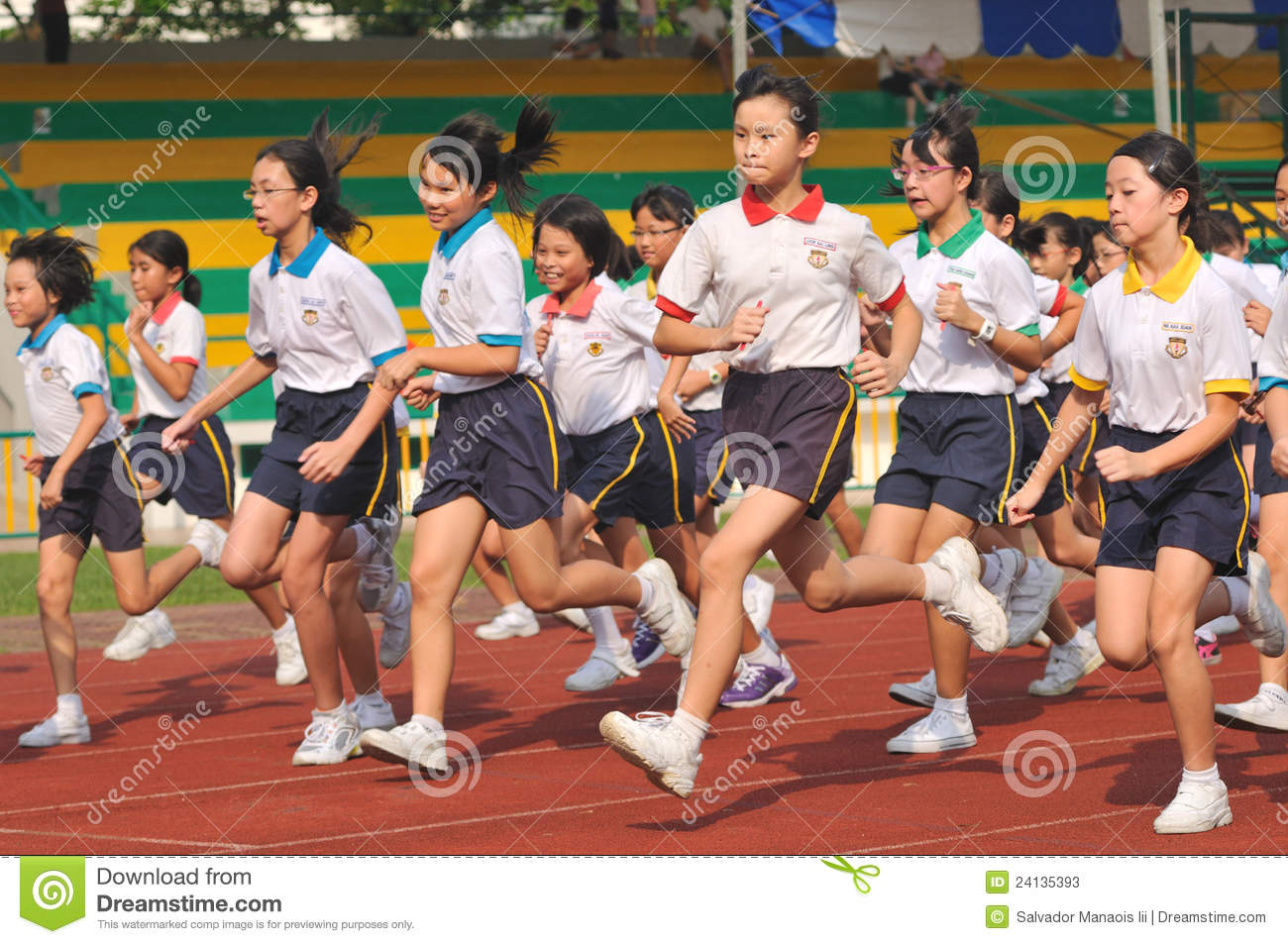 group of primary school students in a running competition. Sports is ...