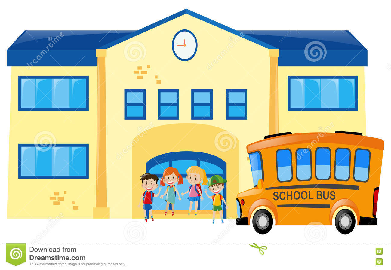 Students And School Bus In Front Of School Stock Vector ...