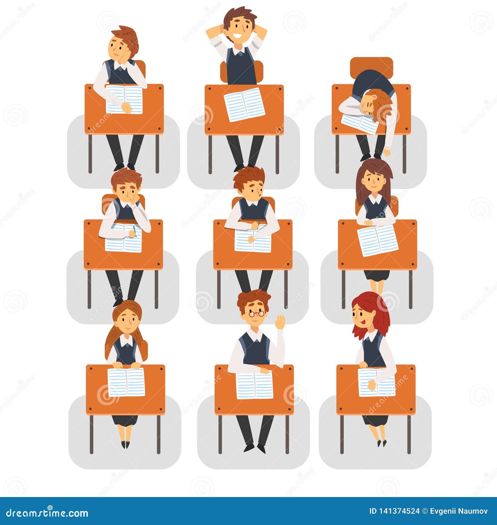 Happy kids children sitting desk classroom school Clip Art | k49522999 |  Fotosearch