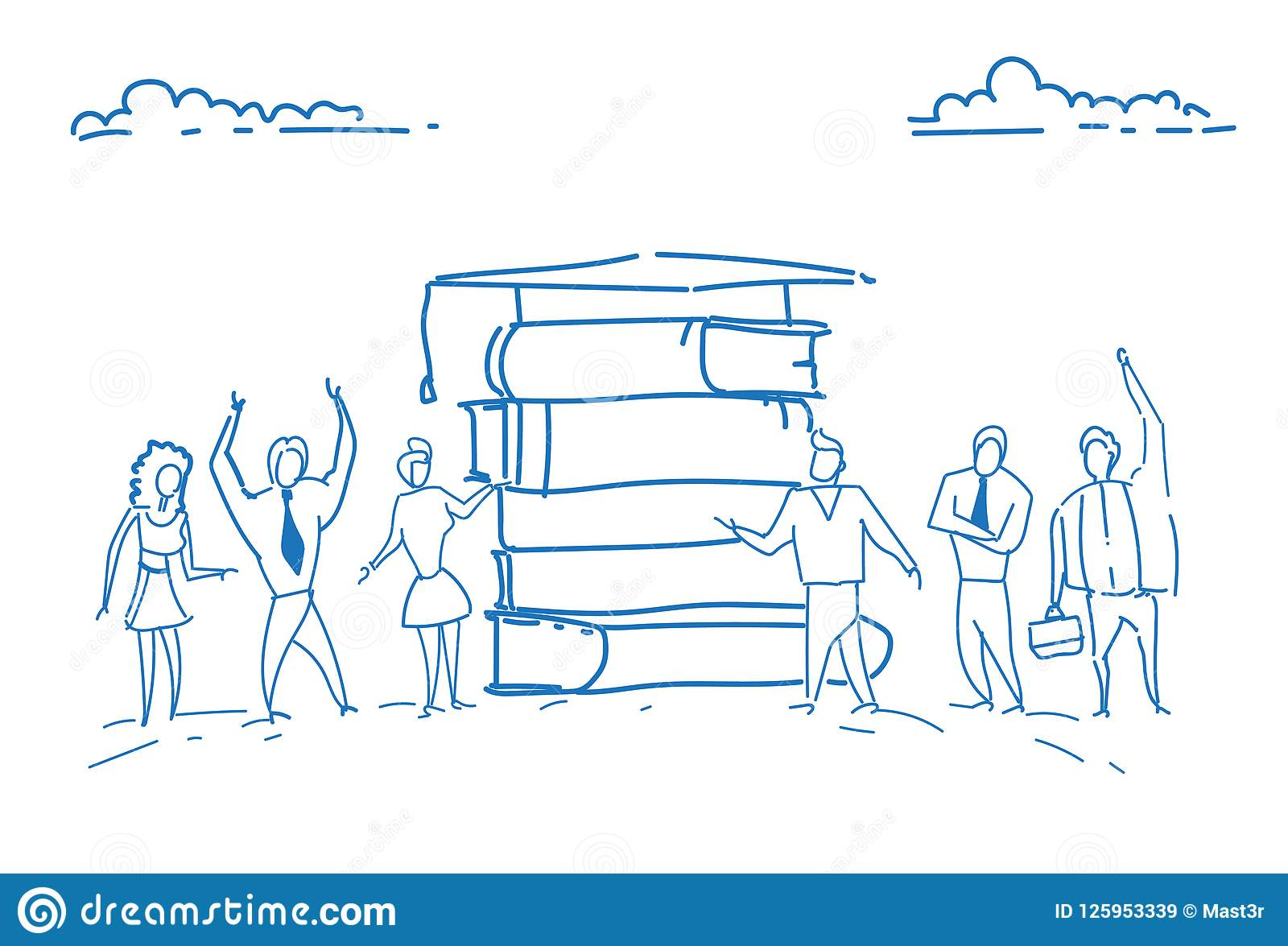 students standing book stack graduated cap education concept