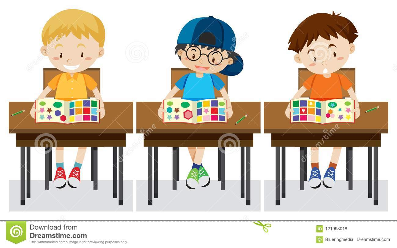 Students study shapes and colours