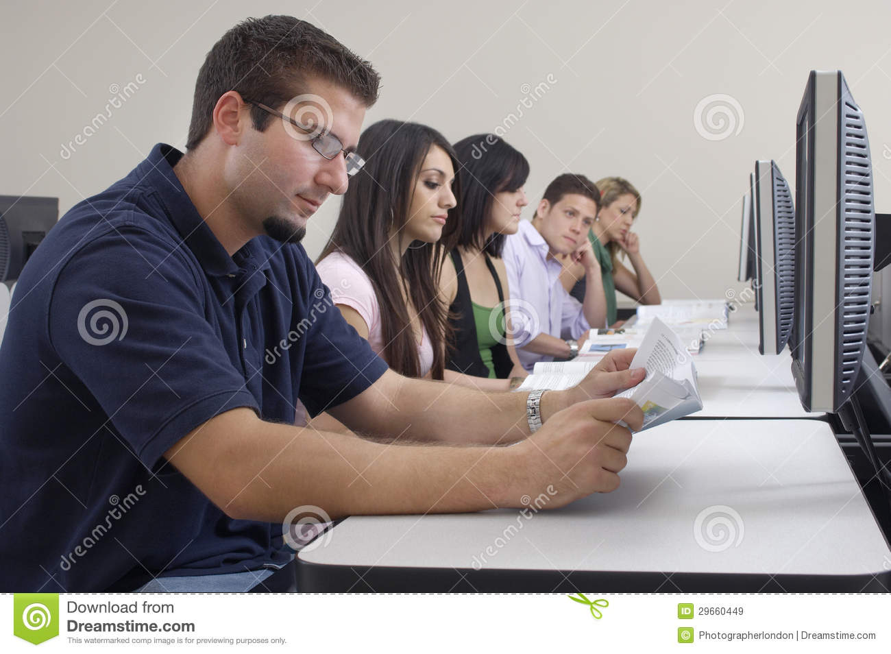 Students Studying While Sitting In Computer Lab Stock ...