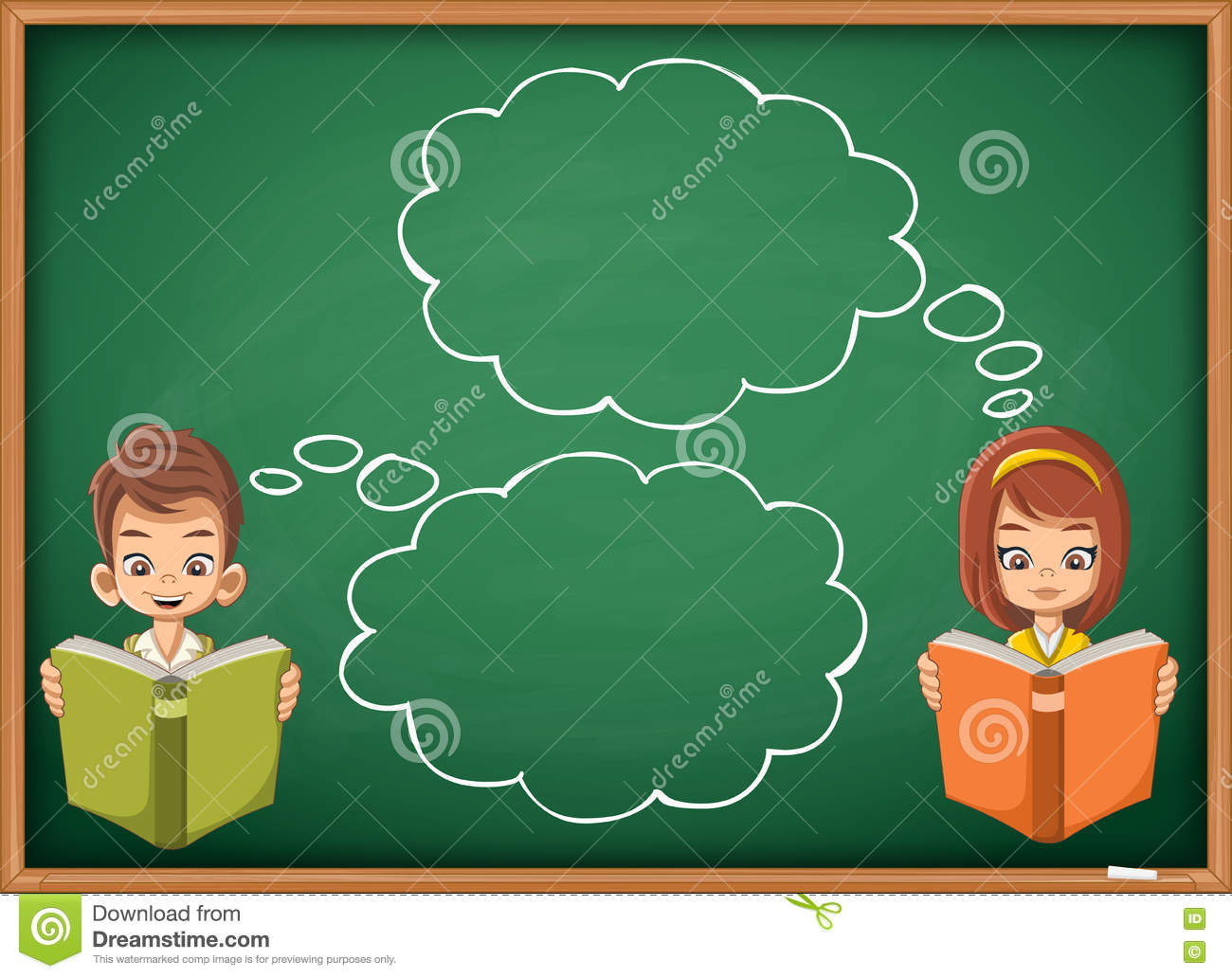 Students Thinking With Speech Bubbles. Stock Vector ...