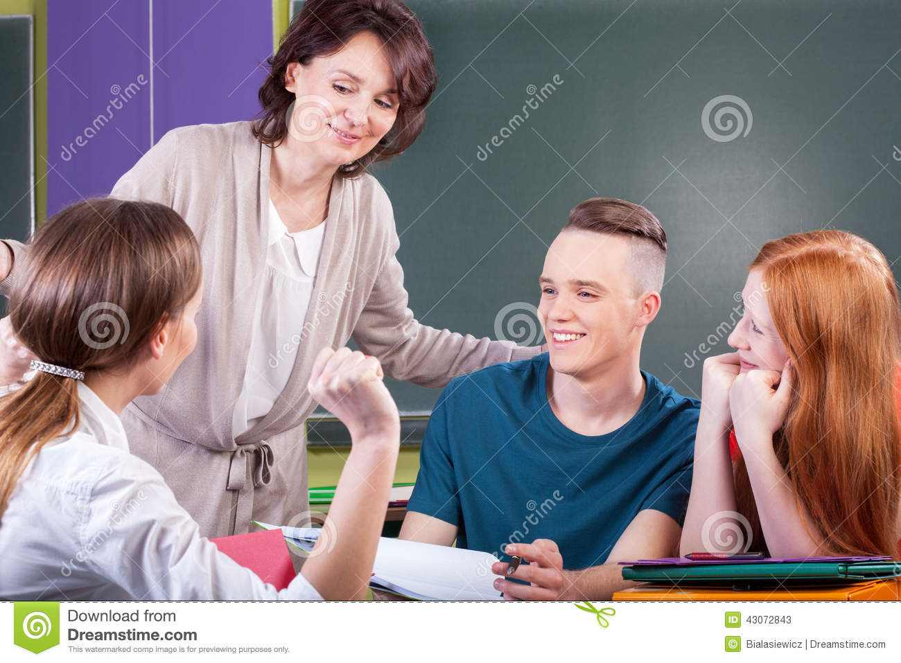 Students working in group on lesson
