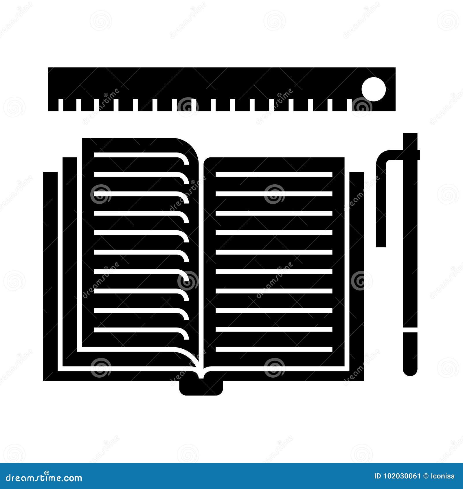 Studing - open boek, pen, heerserspictogram, vectorillustratie, zwart teken op geïsoleerde achtergrond