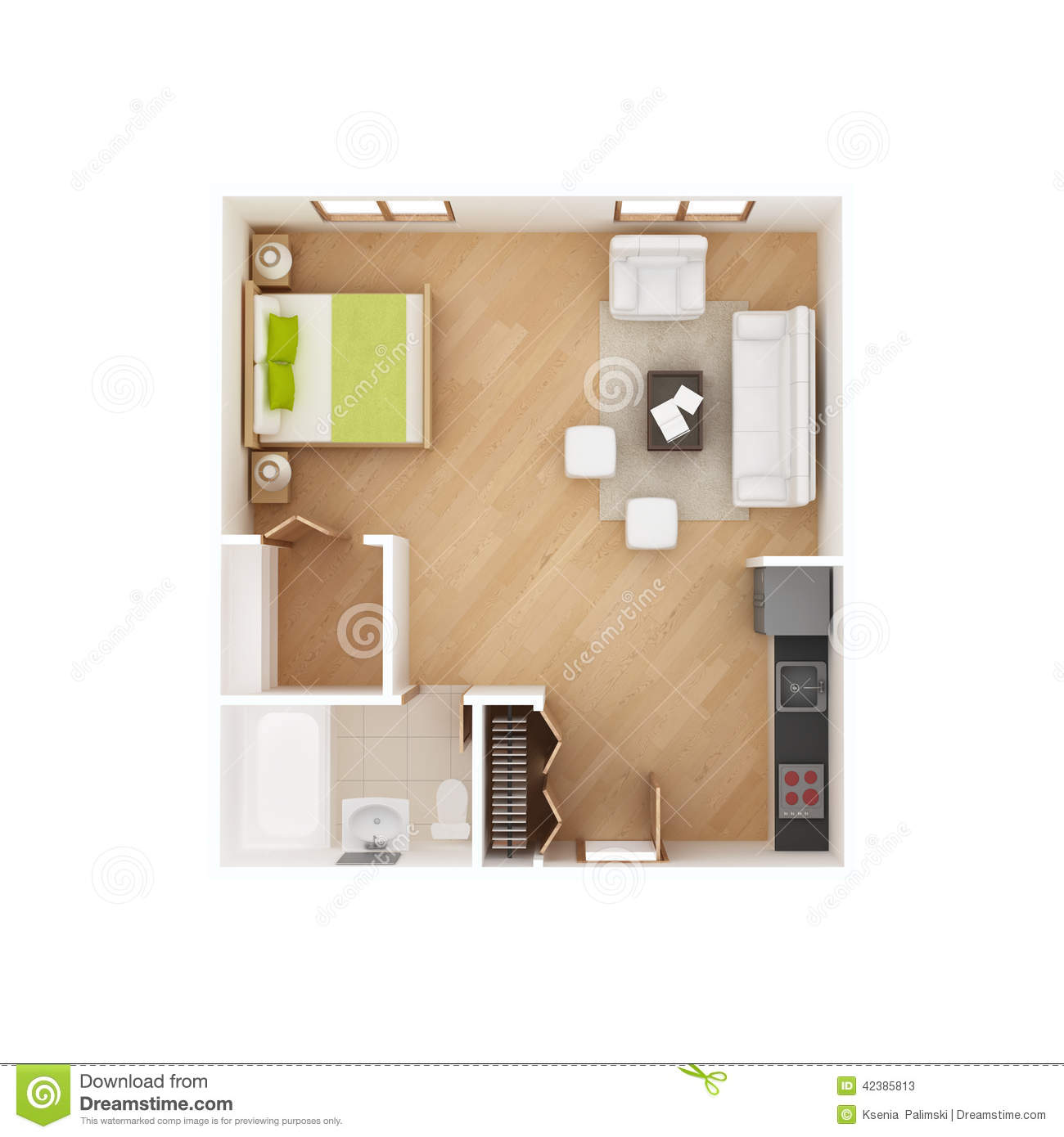 Studio apartment floor plan isolated on white stock Floor plan view