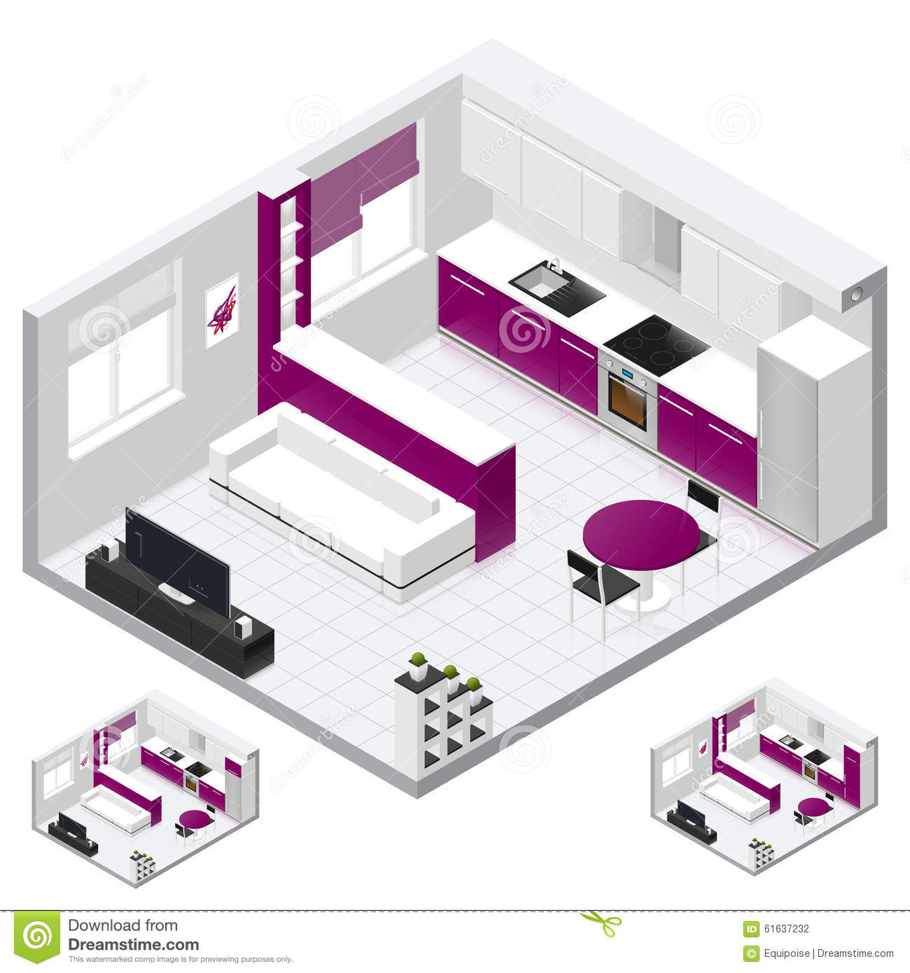 Studio Apartment Isometric Icon Set Stock Vector