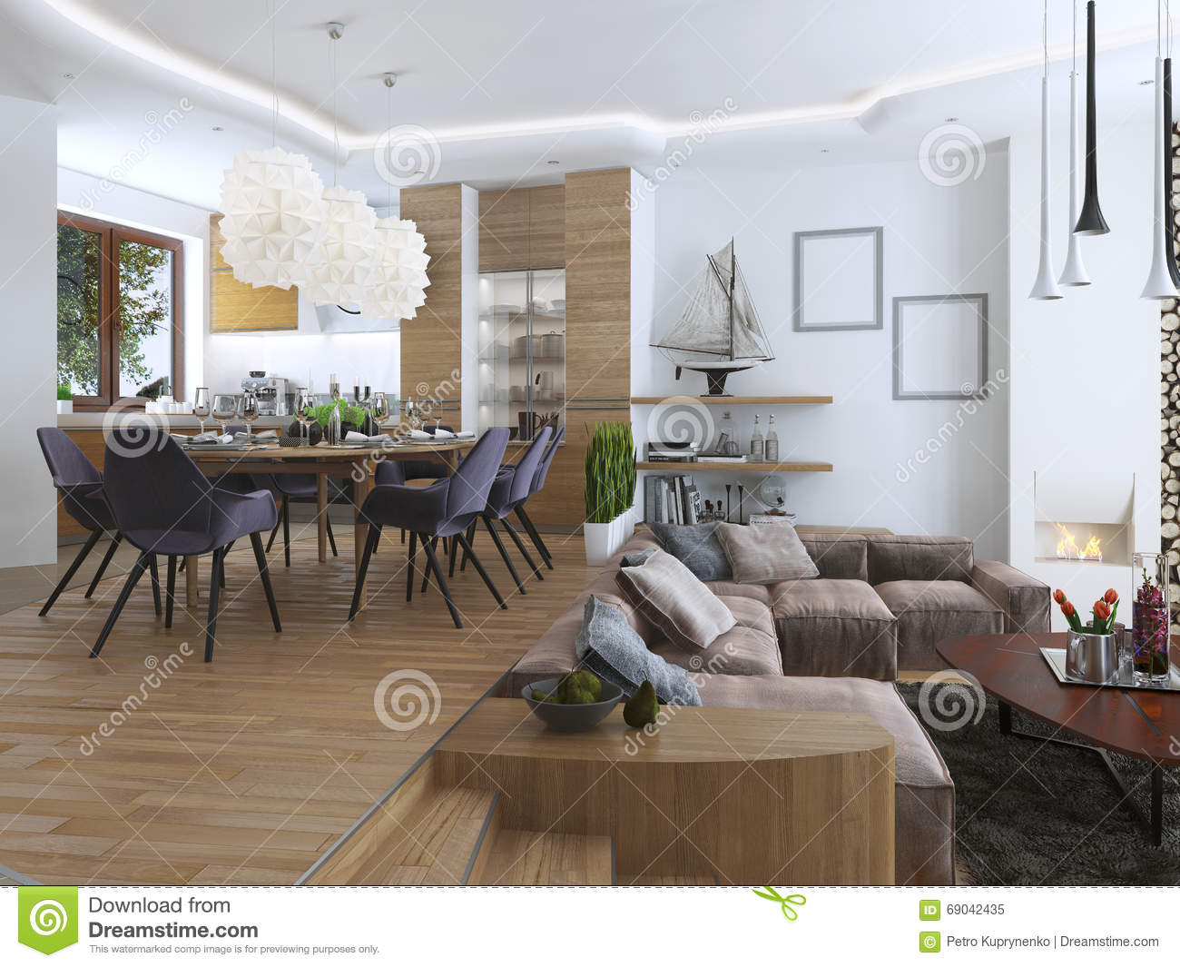 Studio Apartment With Living Room And Dining Room In A