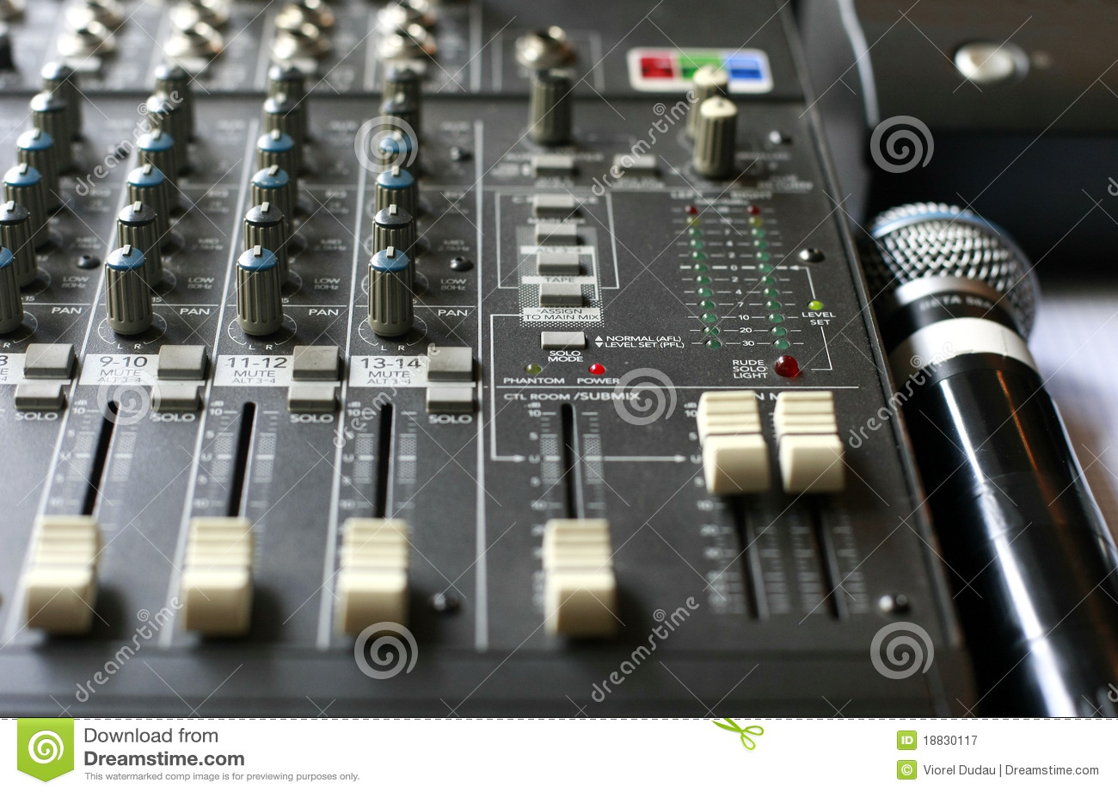 Studio Audio Mixer With Microphone Stock Image Image Of