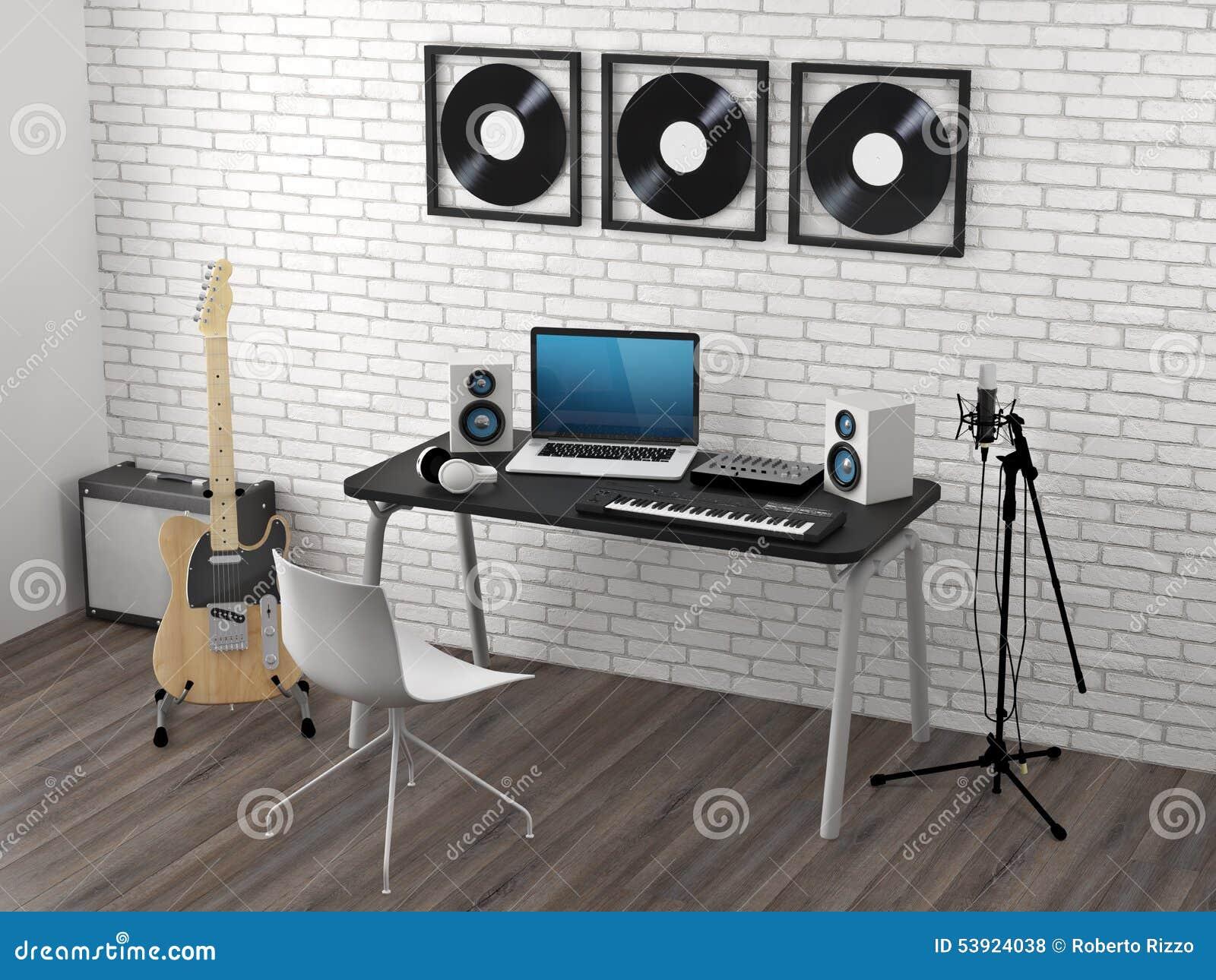 studio d 39 enregistrement la maison illustration stock image 53924038. Black Bedroom Furniture Sets. Home Design Ideas