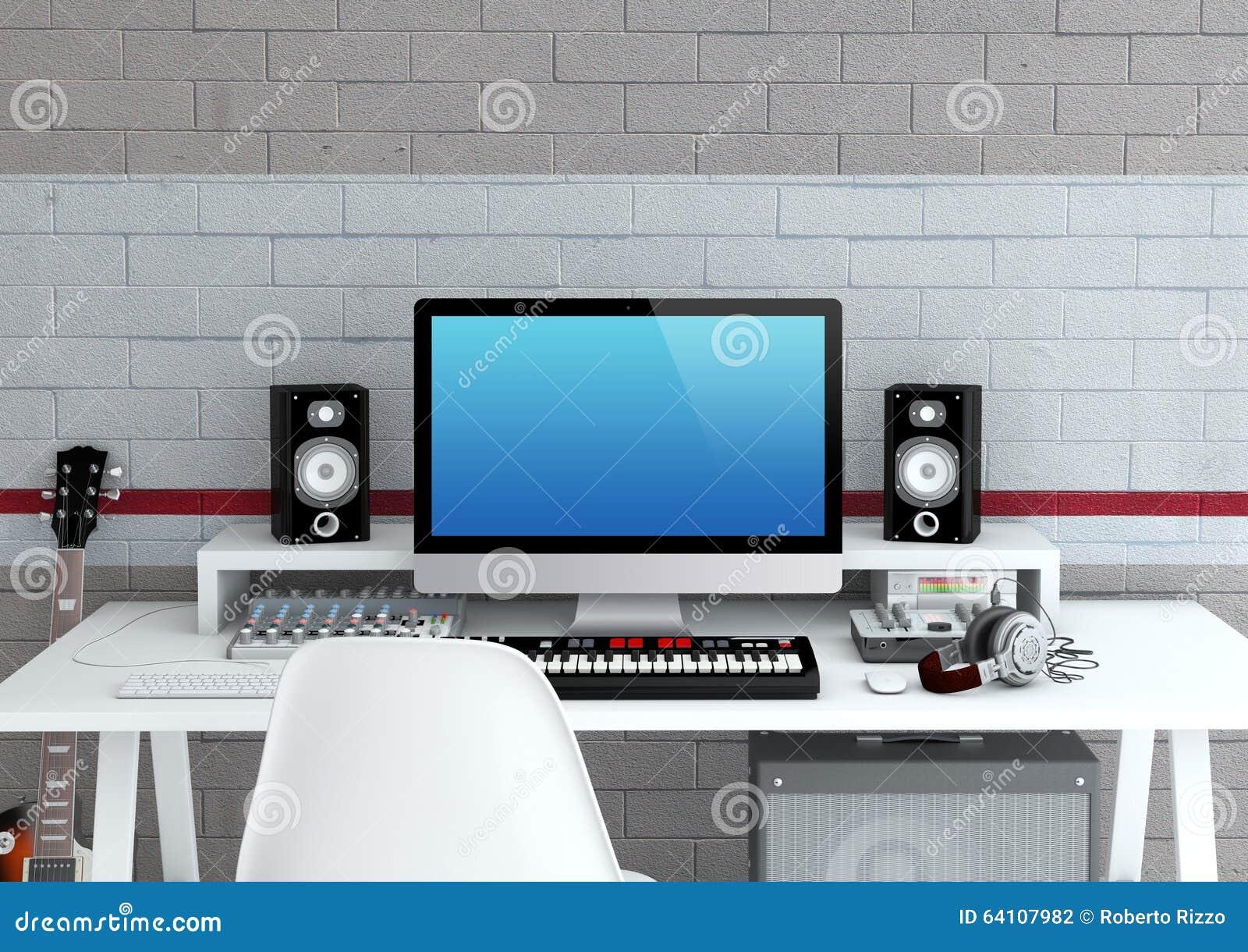 studio d 39 enregistrement la maison illustration stock image 64107982. Black Bedroom Furniture Sets. Home Design Ideas