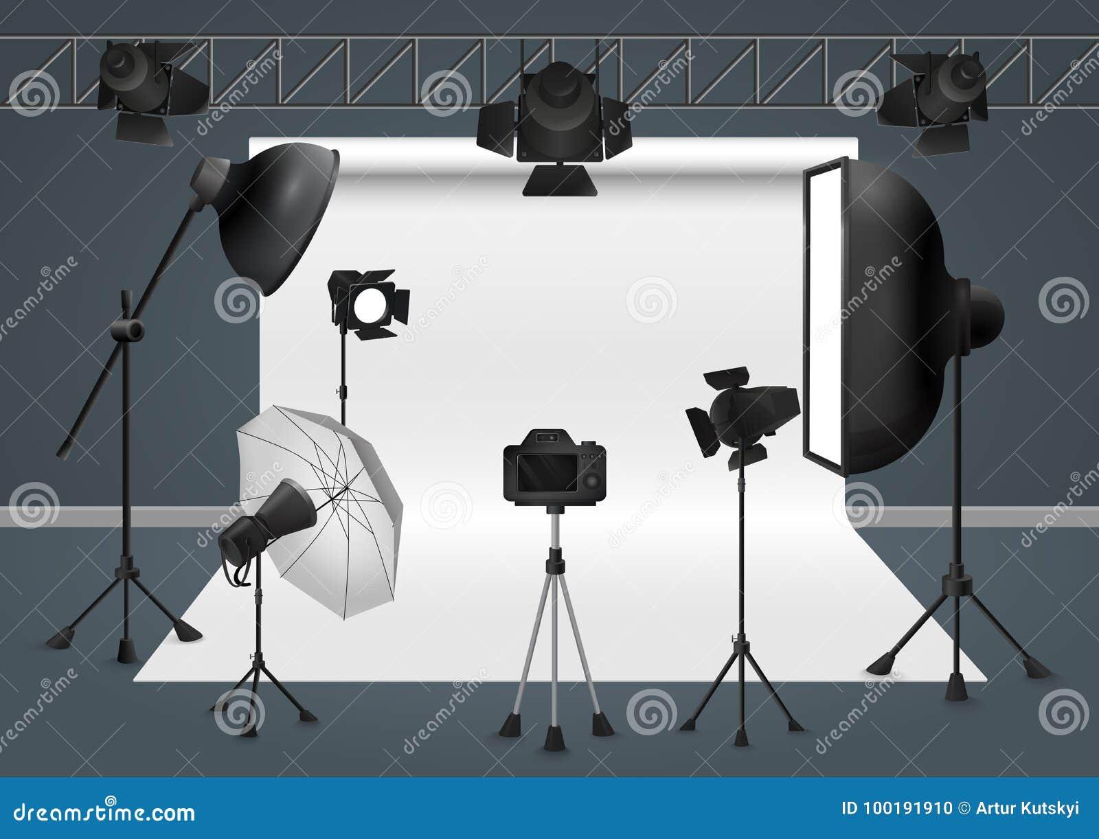 Studio de photo avec l appareil-photo, le projecteur d instantané de matériel d éclairage, le softbox et le fond Illustration de
