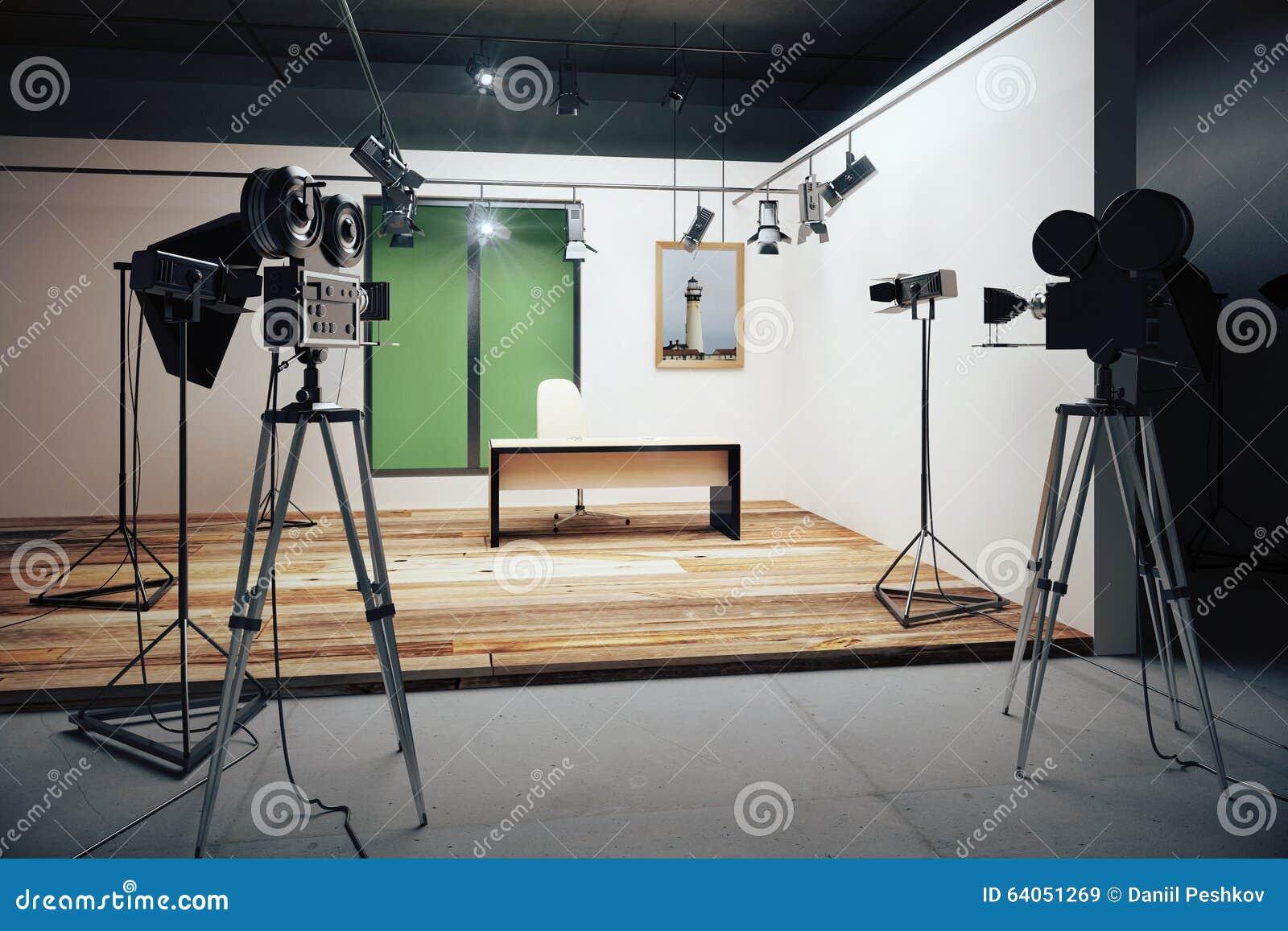 Studio Filmowe Biurowe Dekoracje Z Rocznika Filmu Kamerami
