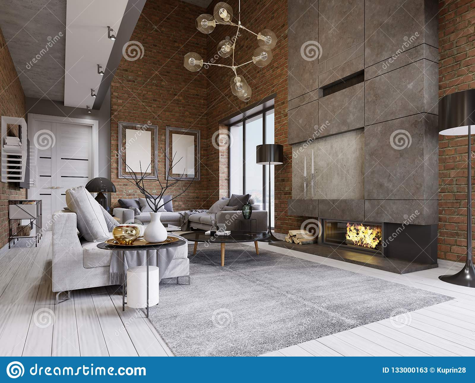 Studio flat with brick wall and fireplace and modern furniture