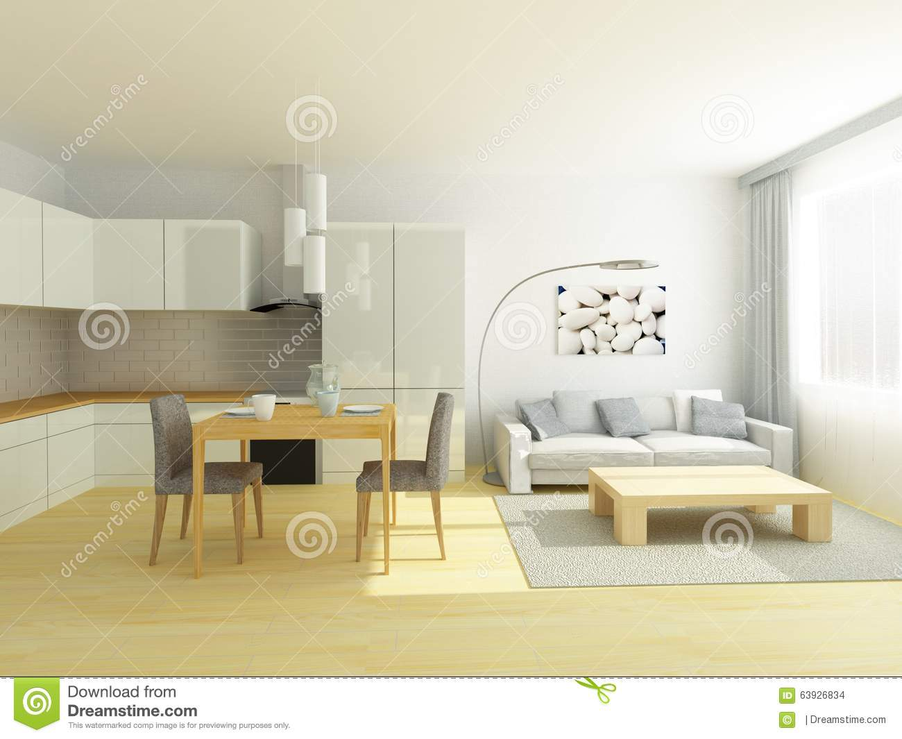 Small Flat Kitchen Small Flat Studio Room Kitchen And Sitting Room In Light Gray