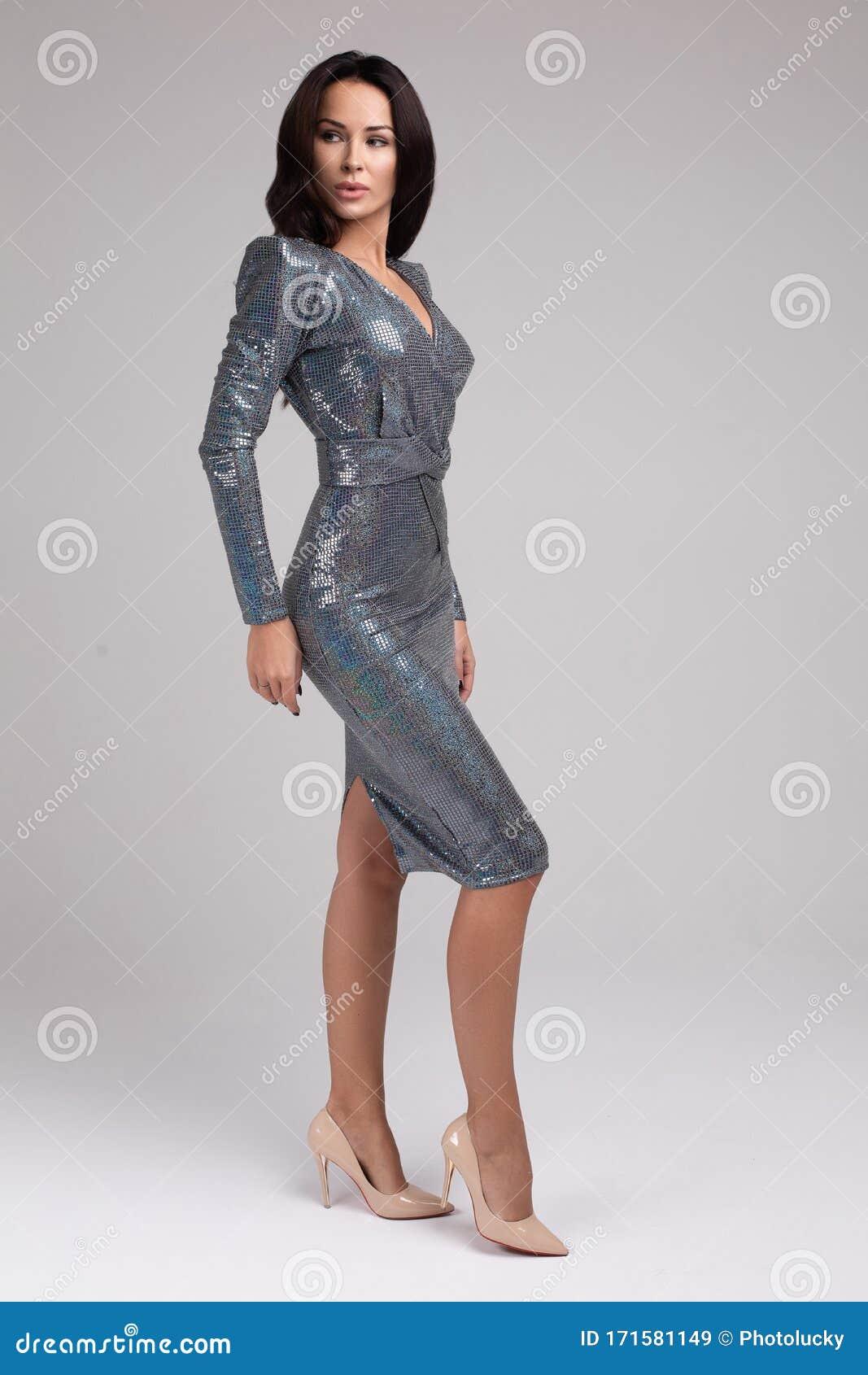 Shimmering Silver Cocktail Dress