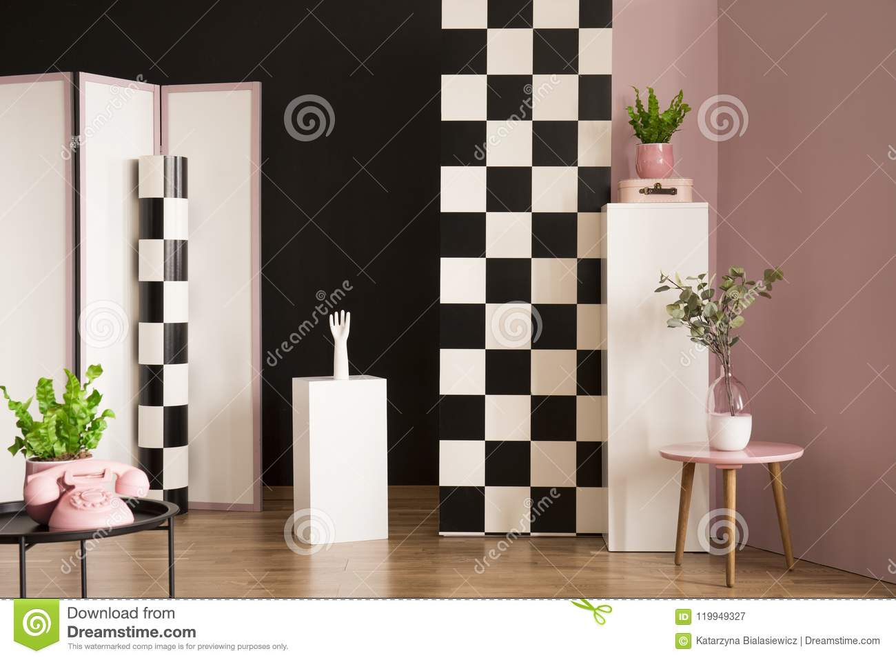 Marvelous Studio Interior With Checkerboard Wall Stock Image Image Andrewgaddart Wooden Chair Designs For Living Room Andrewgaddartcom