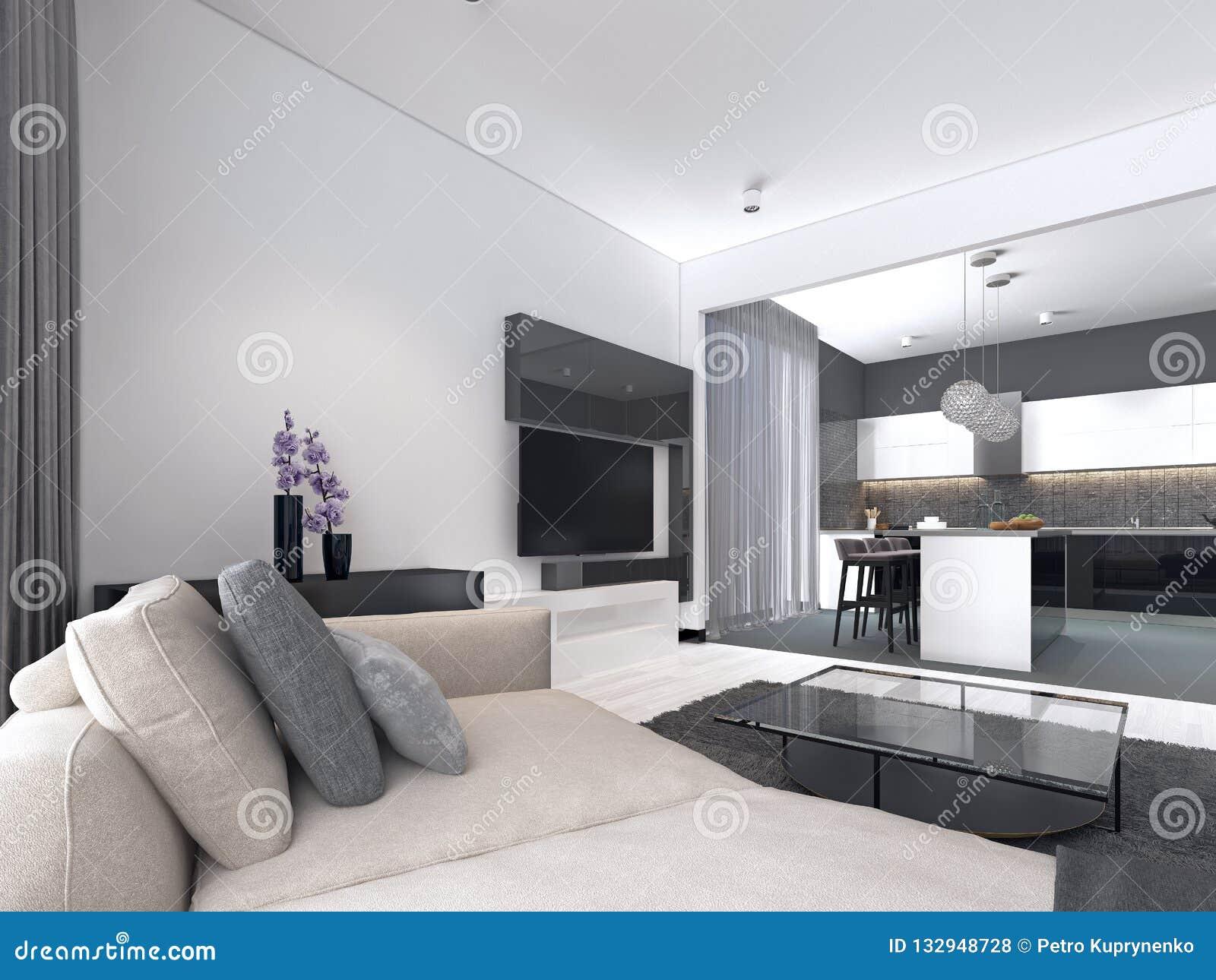 Studio interno dell appartamento spazioso con stile scandinavo, pranzare e la cucina della parete bianca