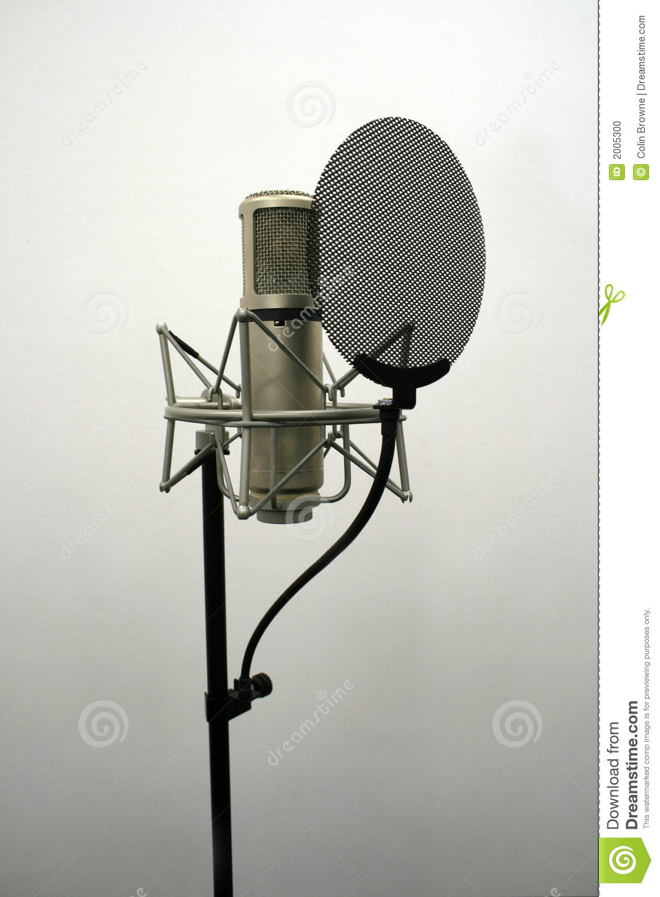 Recording studio microphone used typically for singing and voice-overs ...