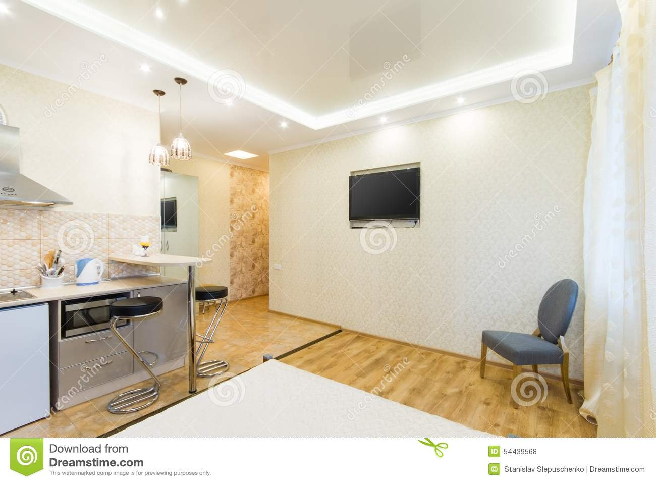 Studio moderne d 39 appartement cuisine et salon photo stock for Salon et cuisine moderne
