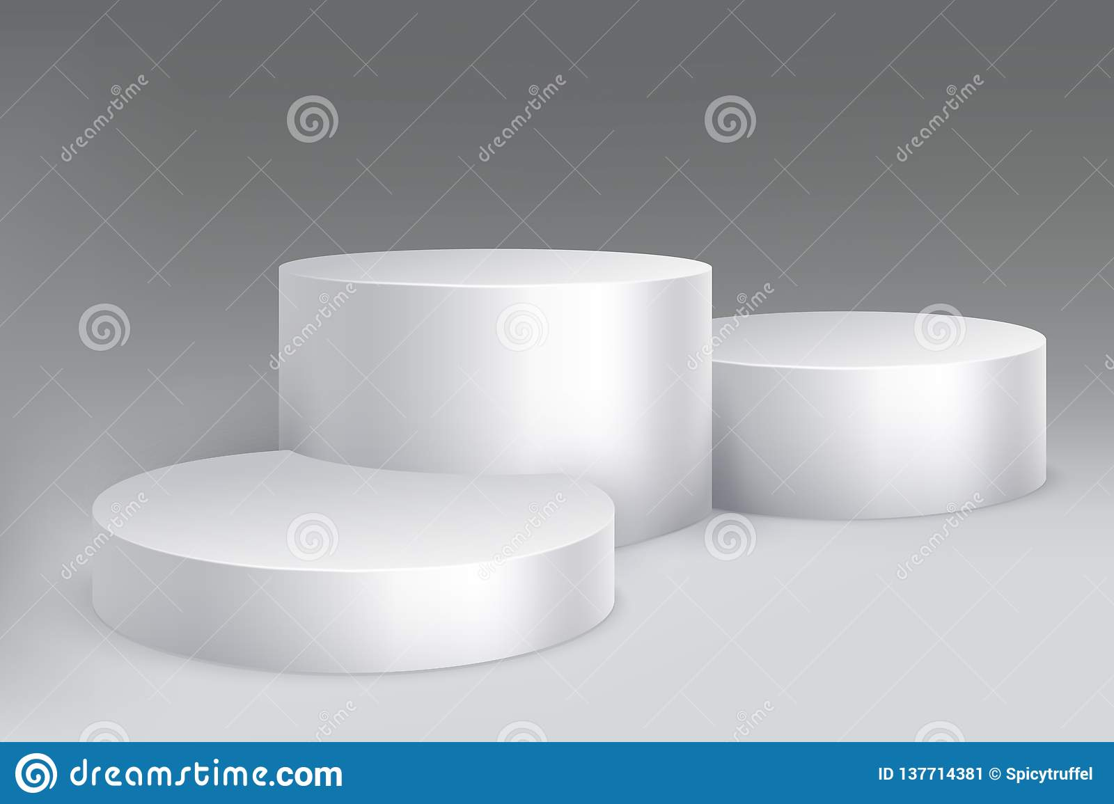 Studio podium. Marble stand pillar base, pedestal with cylinders. Empty white exposition showroom isolated mockup