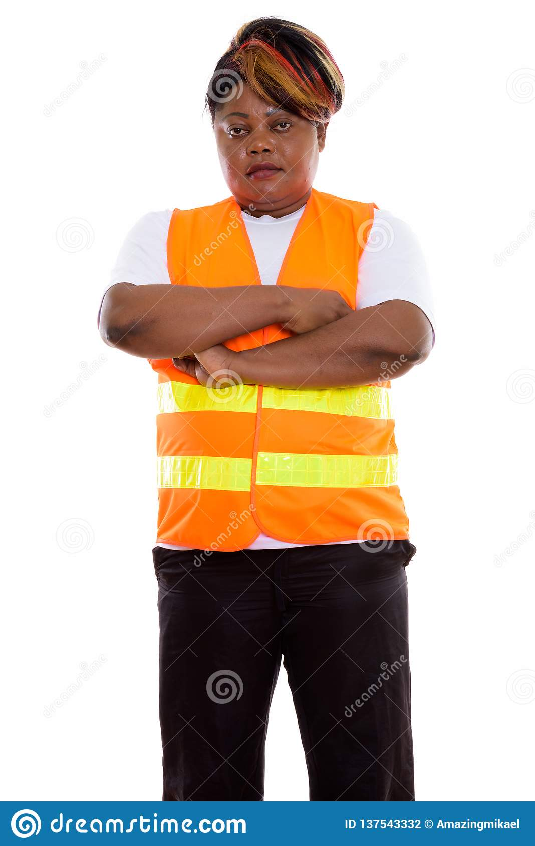 165e8ee8b4869 Studio Shot Of Fat Black African Woman Construction Worker Stand ...
