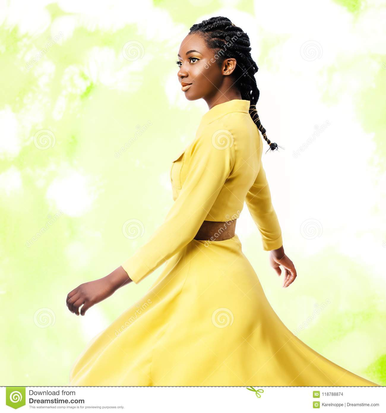 Download Studio Portrait Of African Woman In Yellow Dress. Stock Photo - Image of glamour, female: 118788874